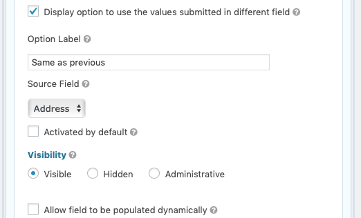 Address Field Advanced Settings