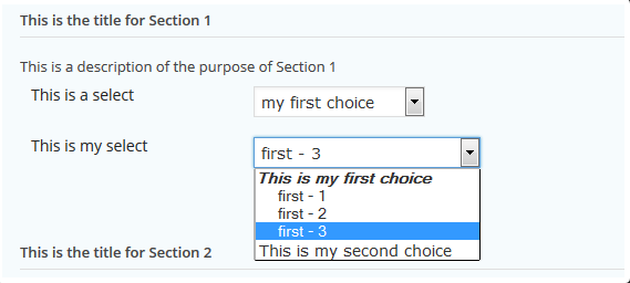 Select Field Example