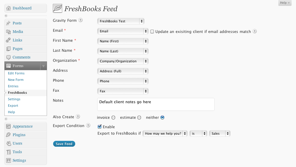 Freshbooks Addfeed
