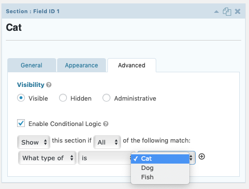 Enabling Conditional Logic For A Field - Gravity Forms Documentation