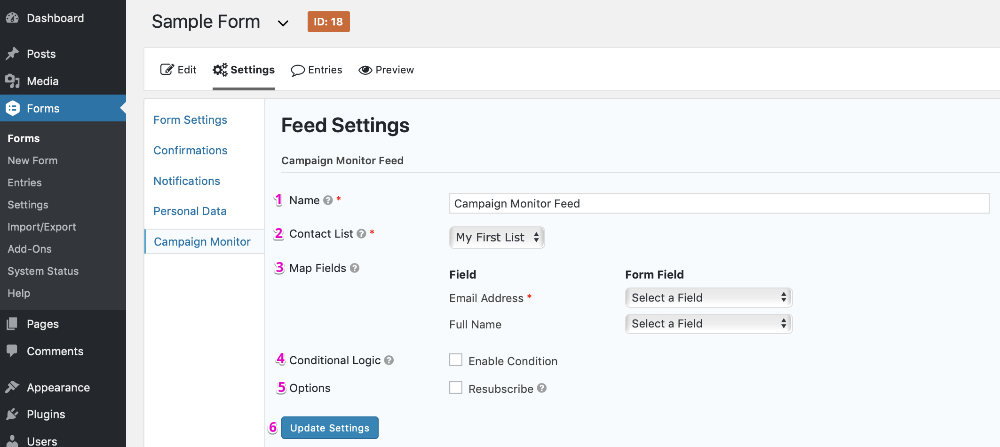 Campaign Monitor Feed Settings Page
