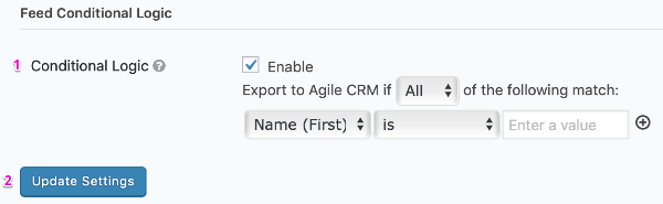 Agile CRM Feed Settings Page Conditional Logic