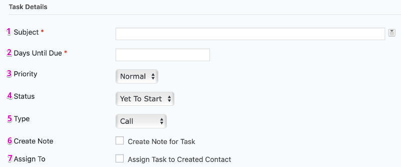 Agile CRM Feed Settings Page Create Task