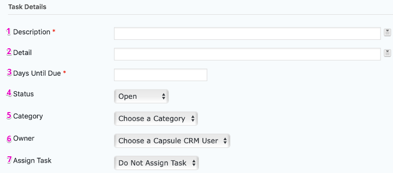 Capsule CRM Feed Settings Page Task Details