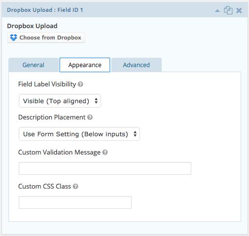 Upload Dropbox Gravity Documentation Forms - Field