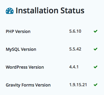Example Installation Status