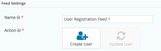User Registration Feed Settings