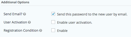 User Registration Feed Additional Options