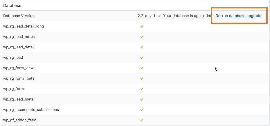 Database Upgrade
