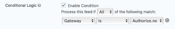 Conditional Logic Feed Settings