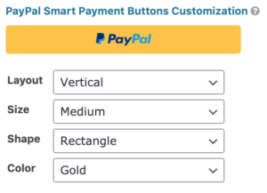 PayPal Field Smart Buttons Settings