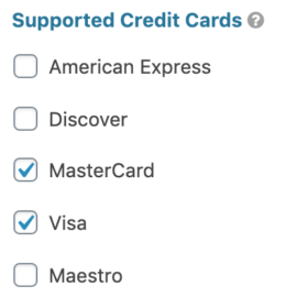 PayPal Field Supported Credit Cards Setting