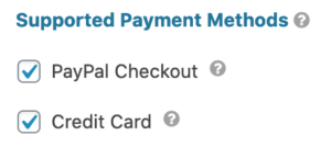 PayPal Field Supported Payment Methods Setting